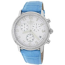 Roberto Bianci Men's Light Blue Leather Strap Diamond Watch