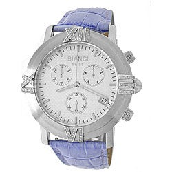 Roberto Bianci Men's Diamond Blue Leather Band Chronograph Watch