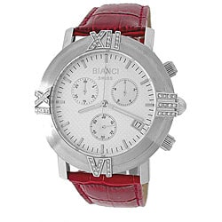 Roberto Bianci Men's Red Leather Band Diamond Chronograph Watch