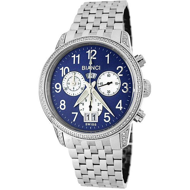 Roberto Bianci Men's Blue Dial Diamond Chronograph Watch