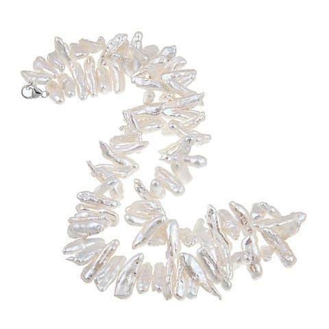 DaVonna Silver White 18-inch FW Biwa Pearl Necklace (12-14 mm)