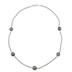 DaVonna Silver Chain and Black Tahitian Pearl Tin Cup Necklace (8-9 mm)