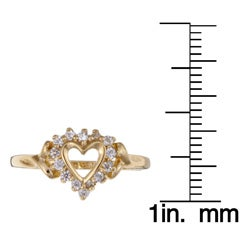 Sterling Essentials 14k Gold over Silver Cubic Zirconia Heart Ring - Thumbnail 2