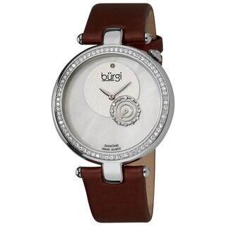 Burgi Women's Diamond-accented Burgundy Strap Watch