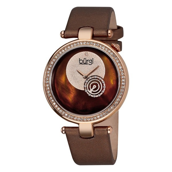 Burgi Women's Diamond-accented Brown Strap Watch
