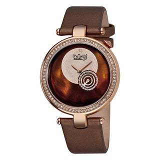 Burgi Women's Diamond-accented Brown Strap Watch