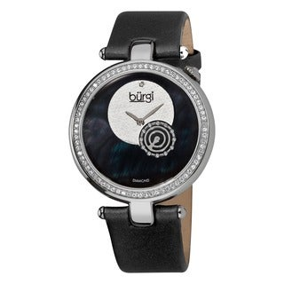 Burgi Women's Diamond Round Black Watch