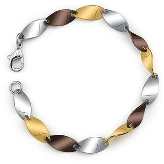 Women's 7.5-inch Stainless Steel Tri-color Bracelet