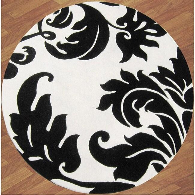 Alliyah Handmade Off-White New Zealand Blend Wool Rug Wool Rug (6' Round)