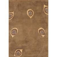 Alliyah Handmade Peacock Brown Wool Rug (5' x 8') - 5' x 8'
