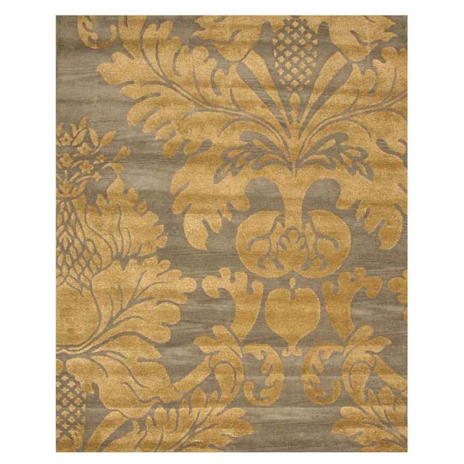 Hand-tufted Wool Blue Transitional Floral Hand-'Avalon' Blue/ Gold Rug (4' x 6')
