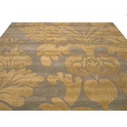 Hand-tufted Wool Blue Transitional Floral Hand-'Avalon' Blue/ Gold Rug (4' x 6') - Thumbnail 2