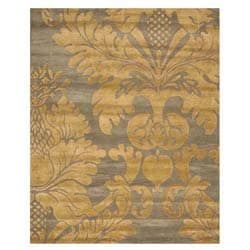 EORC Hand-tufted Wool Blue Hand-'Avalon' Blue/ Gold Rug (4' x 6')