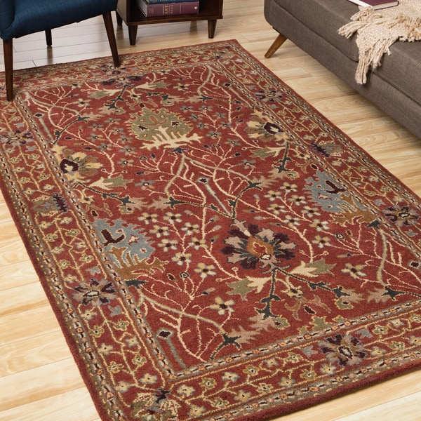 Hand-tufted Wool Rust Traditional Oriental Morris Rug (5' x 8')