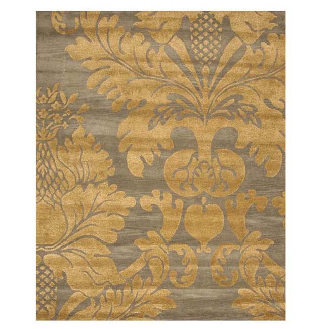 Hand-tufted Wool Blue Transitional Floral Hand-'Avalon' Blue/ Gold Rug (5' x 8')