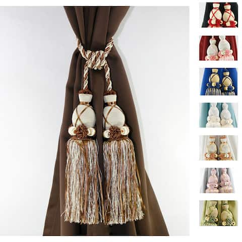 Aurora Home Knitted Duel-head Curtain Tassel Tie-backs (Set of 2)