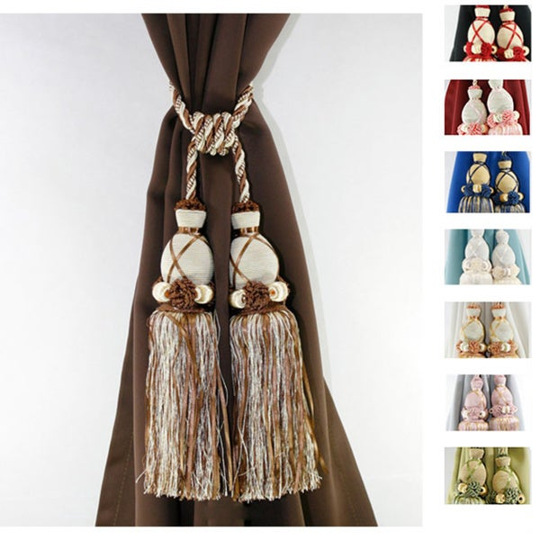 Off white curtain holdbacks - Aurora Home Knitted Duel Head Curtain Tassel Tie Backs Set Of 2