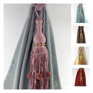Aurora Home Two Knitted Drapery Tassel Tie Backs