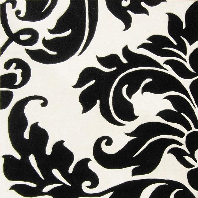 Alliyah Handmade Off-White New Zealand Blend Wool Rug Wool Rug (6' Square)
