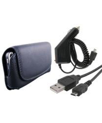 INSTEN Leather Phone Case Cover/ USB Cable/ Car Charger for LG Xenon GR500 Cell Phones