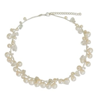 River of Snow White Freshwater Pearls and Crystal Beads on Silk Thread Fluid Adjustable Length Womens Choker Necklace (Thailand)
