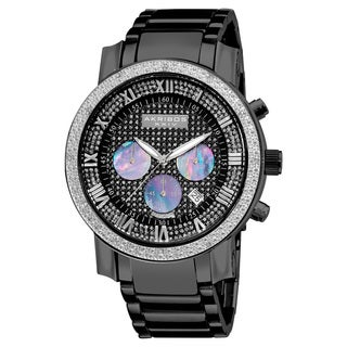 Akribos XXIV Men's Diamond-accented Black Chronograph Bracelet Watch