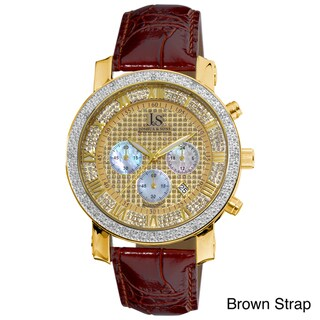 Joshua & Sons Men's Diamond Chronograph Strap Watch