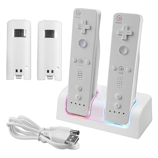Insten White Dual Charging Station with 2 Rechargeable Batteries and LED Lights for Wii/ Wii U Remote Control