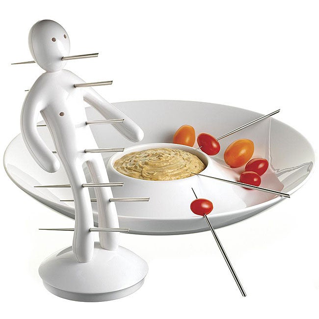 The Ex Skewer Set with Unique White Holder and Tray designed by Raffaele Iannello