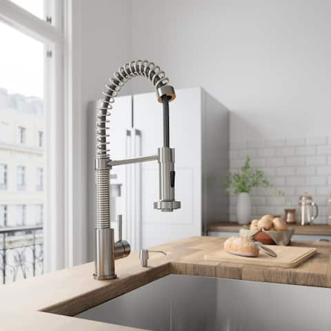 VIGO Edison Stainless Steel Pull-Down Spray Kitchen Faucet