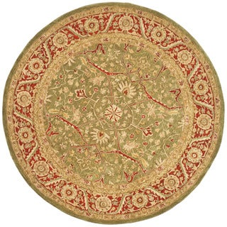 Safavieh Handmade Anatolia Oriental Green/ Red Hand-spun Wool Rug (4' x 4' Round)