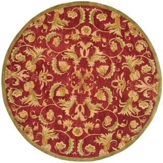 Safavieh Handmade Anatolia Oriental Traditional Burgundy Hand-spun Wool Rug (8' Round)