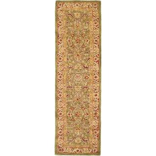 Safavieh Handmade Anatolia Oriental Green/ Red Hand-spun Wool Runner (2'3 x 14')