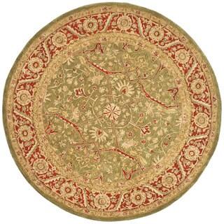 Safavieh Handmade Anatolia Oriental Green/ Red Hand-spun Wool Rug (8' Round)