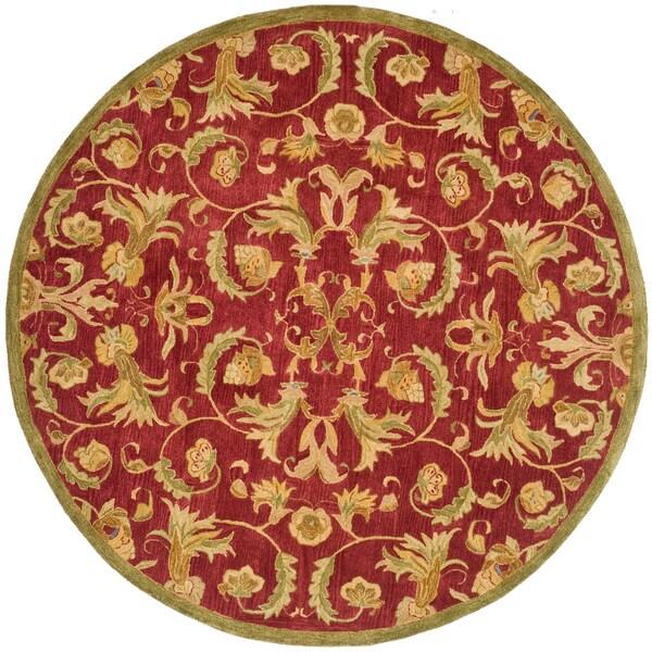 Safavieh Handmade Anatolia Oriental Traditional Burgundy Hand-spun Wool Rug (4' x 4' Round)
