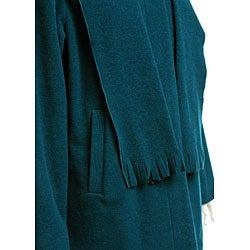 Nuage Women's Attached Scarf Wool Jacket