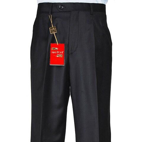 Men's Black Single-pleat Wool Dress Pants