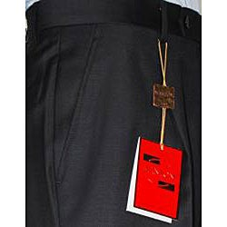 Men's Black Single-pleat Wool Dress Pants - Free Shipping Today ...