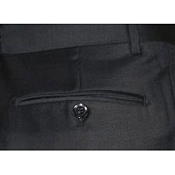 Men's Black Single-pleat Wool Dress Pants