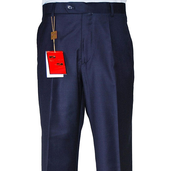 rainwater-Shop Mens Slim Fit Flat Front Stretch Wool Blend Dress Pant,Black,36