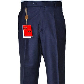 Men's Navy Blue Flat-front Wool Dress Pants (More options available)