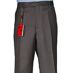 Men's Taupe Flat-front Wool Dress Pants