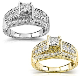 Annello 14k Gold 7/8ct TDW Princess Diamond Engagement Ring