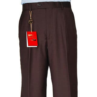 Men's Brown Single-pleat Wool Dress Pants