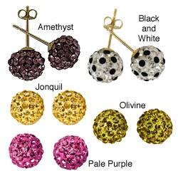 Gioelli 14k Yellow Gold Crystal Ball Stud Earrings