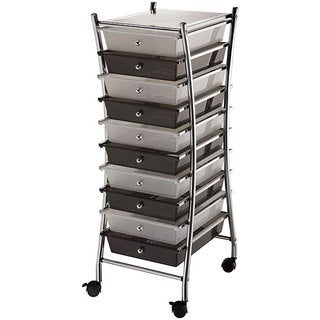 X-Frame 10-drawers Clear/ Smoke Storage Cart