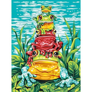 Dimensions 'Frog Pile-up' Paint By Number Kit (9 x 12)