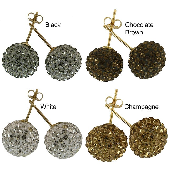 Gioelli 14k Yellow Gold 10 mm Crystal Ball Stud Earrings