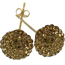 Gioelli 14k Yellow Gold Round-cut Champagne Crystal Ball Stud Earrings