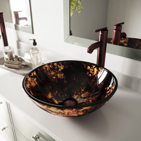 VIGO Brown and Gold Vessel Bathroom Sink Set and Seville Vessel Faucet